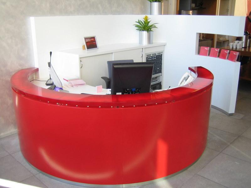 Solid surface reception desks for Designhotel kamen