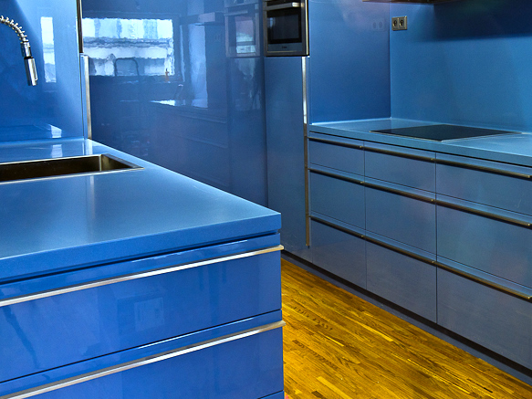 Wonderful Green And White Kitchen #2: Blue-kitchen-countertop-01.jpg
