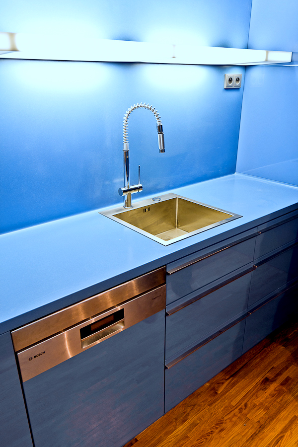 Blue Kitchen Countertop And Sink Corian Lighting Himacs D